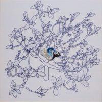 青い石 a blue stone | 2017 | 333×333mm | oil, ballpoint pen on canvas